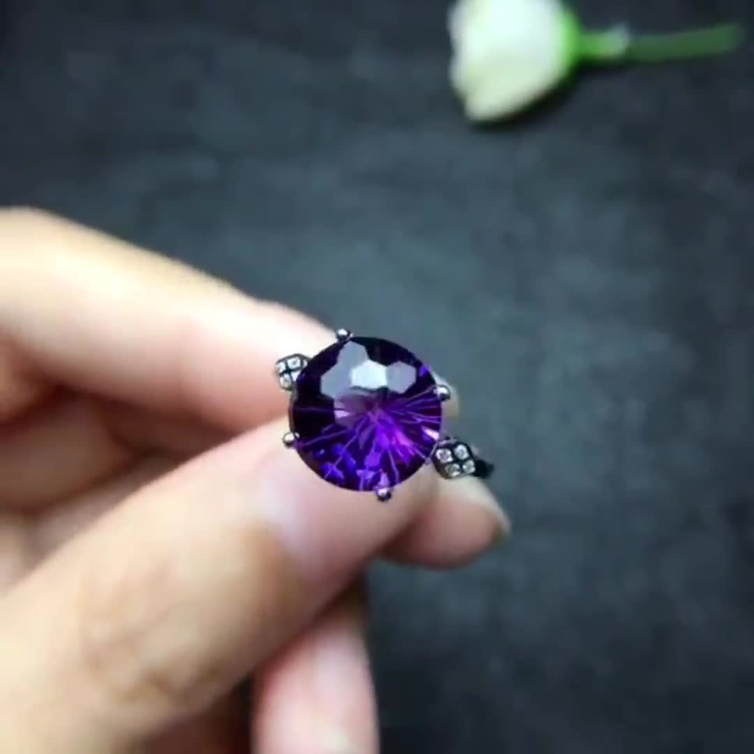 Lunar Dream Amethyst Ring   Raw Amethyst Ring   Raw Gemstone Ring    Anniversary Ring   Dainty Ring   Gift for Her