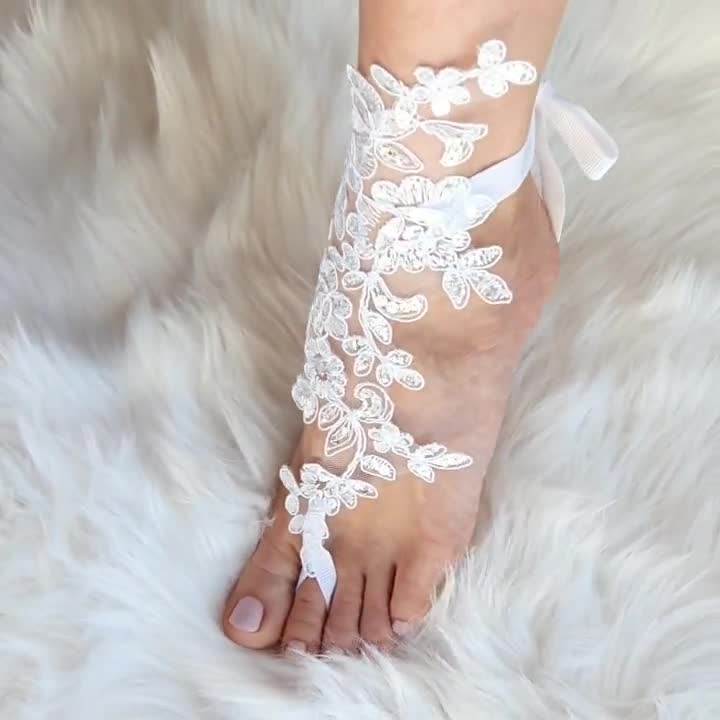Barefoot Sandals Wedding On A Beach Bridal Foot Jewelry Lace Etsy