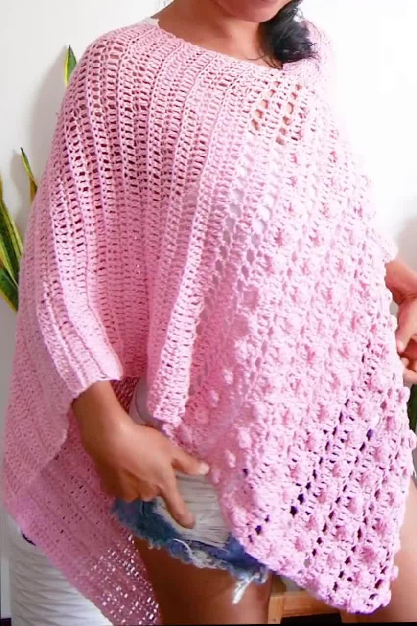 bobble stitch bobble gum easy poncho with video tutorial v neck poncho Crochet bobble stitch poncho pdf pattern boho crochet,